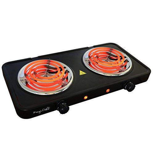 Megachef Electric Easily Portable Ultra Lightweight Dual Coil Burner Cooktop Buffet Range in Matte Black (MC-2012A-B)