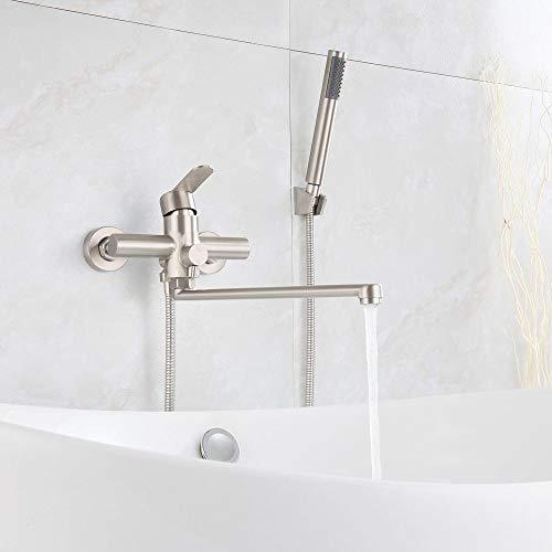 HomeLava Grifo de pared para bañera caño de 35cm de largo con válvula de cambio grifo de ducha monomando para cuarto de baño de acero inoxidable cepillado