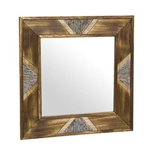 Eideo Home - Espejo de pared, madera, étnico, marrón, 40 x 40 cm