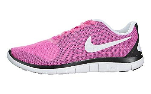 Nike Women's Free 4.0 V5 Running Shoes (Pink Pow/White/Black, 6.5)