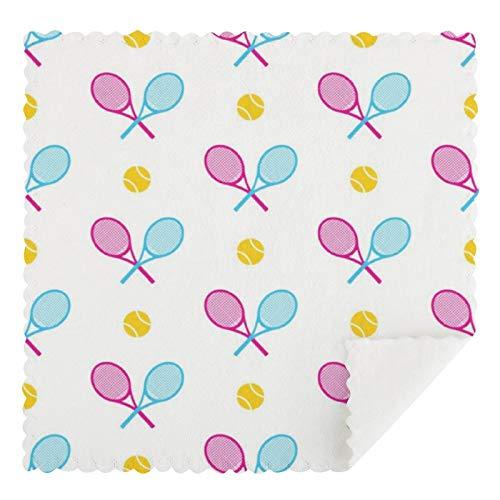 Juego de 2 toallas de cocina reutilizables, juego de 2 raquetas de tenis cruzadas en colores pastel absorbentes, lavables a máquina, toallas de cocina y barra