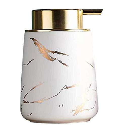 FülleMore Seifenspender Marmor Optik Spülmittelspender aus Keramik, 400ml wiederbefüllbar Shampoospender Pumpseifenspender für Küche Badezimmer Shampoo Öle Lotionen (Weiß)