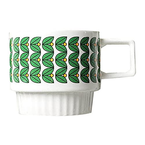 XDYNJYNL Taza de porcelana europea 9.4oz / 280ml, taza de té de café reutilizable tazas de café con mango aislado Tumblers de bebida Highball Cerámica Cerámica recta grande para batido de leche Capuch
