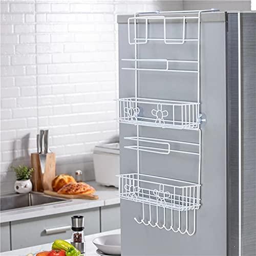 Estante de almacenamiento multifuncional para refrigerador, estante de almacenamiento de pared lateral del refrigerador, estante de almacenamiento lateral de cocina no perforado (blanco)