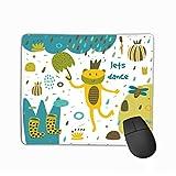 マウスパッドかわいい手描きカードはがきカエル沼ゴム長靴雨傘スイレン植物花ハート水玉レトロ長方形ラバーマウスパッド