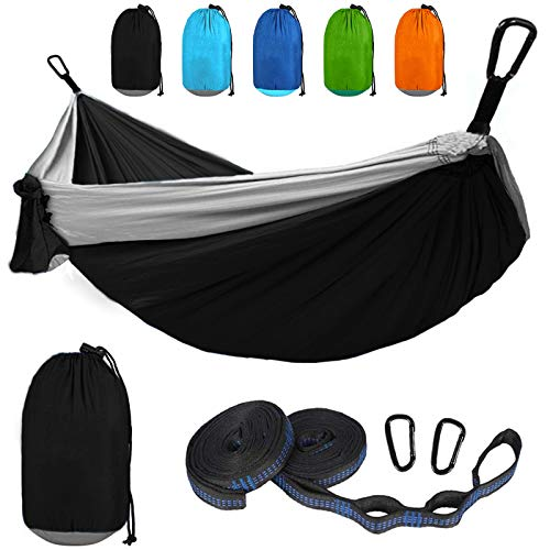 Love Story Camping Double Hammock with Tree Straps Portable & Lightweight Nylon Indoor Outdoor...