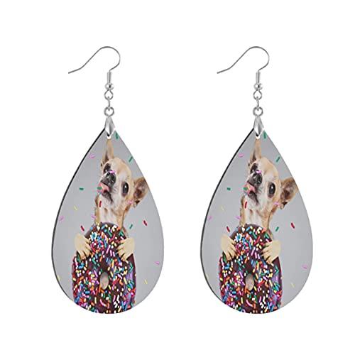 Wood Jewelry - Pendientes colgantes de madera con forma de lágrima de Chihuahua para mujeres y niñas