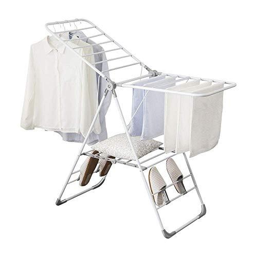 CHENNA Tendero de Secado de Ropa, Rack de lavandería Gullwing de 2 Niveles Plegable, Ahorro de Espacio, Uso de balcón Interior y Exterior