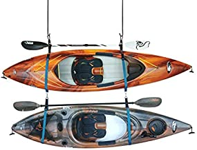 Pelican Double Kayak Storage Strap System - for Indoor and Outdoor Kayak & SUP Paddle Board Hangers - Comes with Paddle Clips - PS1954, Black; Turquoise