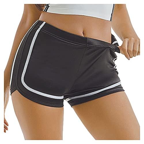 TWIOIOVE High Waist Damen Kurze Leggings Radlerhose Shorts High Stretch Yoga Sport Laufen Fitness Freizeit Ultra Shorts Radlerhose Unterhose Hotpants Kurze Hose Einfarbig Yoga Stretchhose
