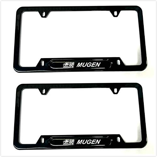 Auteal Car Stainless Steel Metal Mugen JDM License Plate Tag Frame Cover Holders w/Caps Screws for Civic (2 Black)