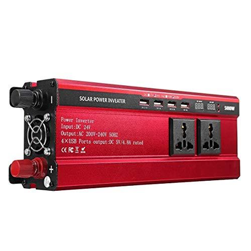 WLGQ Inversor de Corriente Onda sinusoidal Pura DC 12V / 24V a AC 110V / 220V Convertidor de Onda sinusoidal modificada 5000W Peak Solar Power Inverter (Estilo:: # 04)