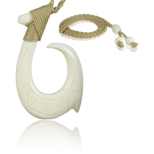 KanaKala Pacific Hawaiian Hand Carved Bone Fish Hook Necklace | Hawaiian Tattoo