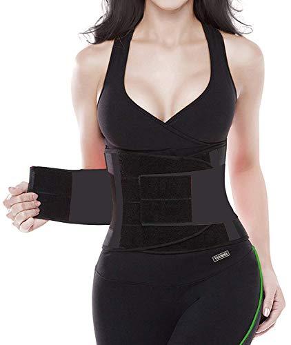 YIANNA Damen Abnehmen Fitnessgürtel Verstellbarer Bauchweggürtel Rückenstütze Waist Trainer Hot Belt Shapewear Schwarz,YA8002 Size M