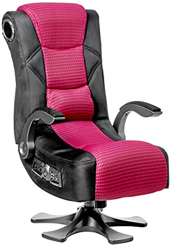 X Rocker 5129101 2.1 Sound Wireless Bluetooth 4 Speaker Video Gaming Chair with Pedestal Base & High Tech Audio 4' Subwoofer, 35.63 x 41.34 x 27.17, Black/Red
