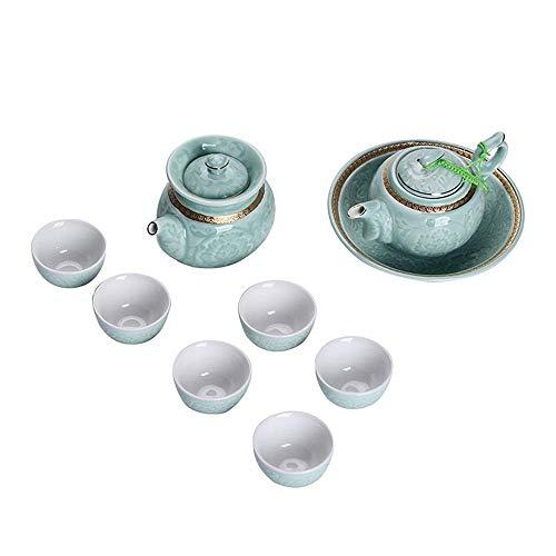 ADSE Tea Sets for Afternoon Tea with Teapot, Ceramic Kung Fu Tea Cup Set Exquisite Porcelain Tea Ware Teapot Teacups Tea For Home Office Use Gift