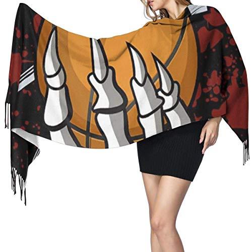 Baloncesto sangriento moda mujer chal largo dibujos animados rompecabezas estampado cachemir bufanda invierno cálido bufanda grande caj