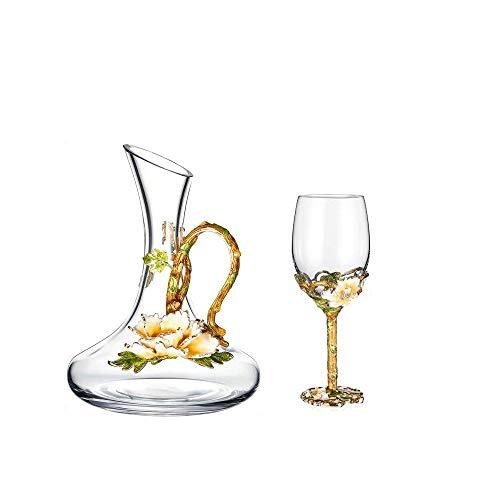 SHTSH Sht Vino Decanter- sin Plomo Cristal de Cristal Rojo Vino de la Jarra, Perfecto for la Boda y Regalos Casa 【Decanter * 1 + Copa de Vino * 4】 (Color : Clear)