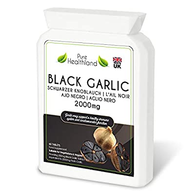 Gluten Free NON GMO ODOURLESS Black Garlic Tablets. High Potency Equal to 2000mg Fresh Garlic Bulbs! Suitable for Vegans and Vegetarians. Made in UK.