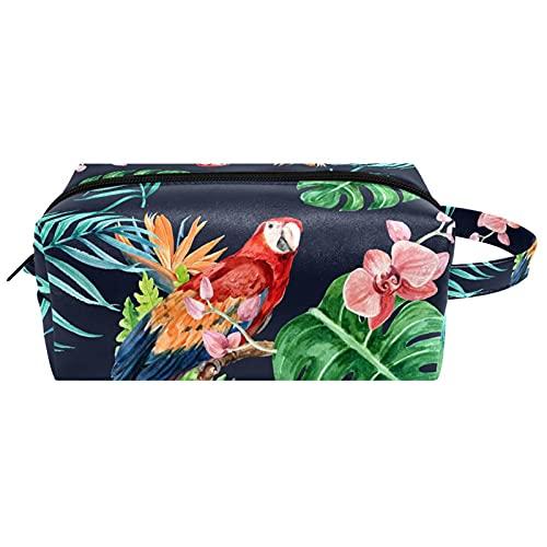 Sac cosmétique Portable Voyage Maquillage Sacs Organisateur de Toilette étui à Crayons pour Femmes Filles Perroquet sur Feuilles et Fleurs Tropicales