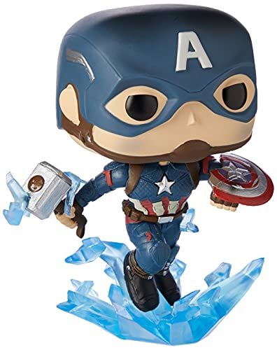 Funko Pop! Marvel: Avengers Endgame - Captain America with Broken Shield & Mjoinir,Multicolor,3.75 inches