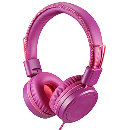 POWMEE M1 Kids Headphones Wired Headphone for Kids,Foldable Adjustable Stereo Tangle-Free,3.5MM Jack Wire Cord On-Ear Headphone for Children (Purple)