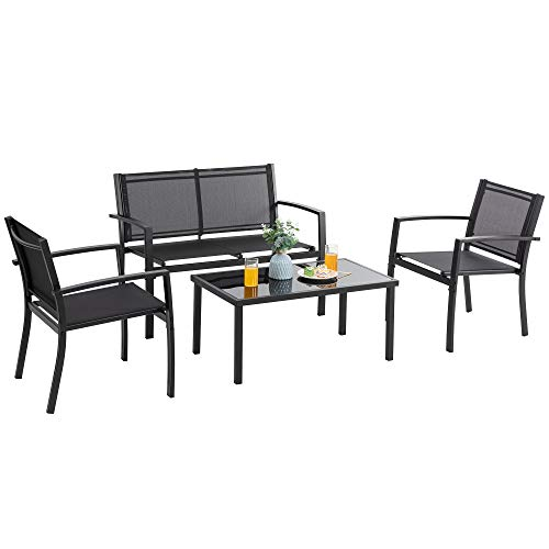 Vongrasig 4 Pieces Patio Furniture Sets, Small Modern Metal Textilene Outdoor Furniture Conversation Sets, Lawn Garden Porch Balcony Mesh Bistro Set Backyard Patio Set w/Loveseat&Glass Table (Black)