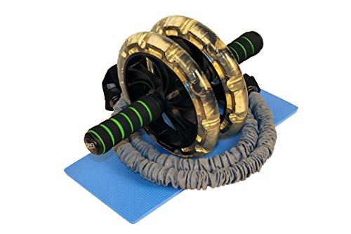 """R99-Sports Bauchtrainer """"Ab Roller"""" mit Widerstandsbändern, Ab Wheel mit Kniematte, Bauchroller mit Komfortgriffen, für Anfänger und Profis, Unisex, Premium Produkt für Fitness Bauchmuskeltraining"""