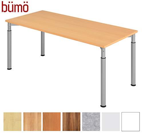 bümö Stabiler Schreibtisch höhenverstellbar 180 x 80 cm | Bürotisch Platte: Buche - Gestell: Silber | Büroschreibtisch mit Höheneinstellung | Tisch für's Büro