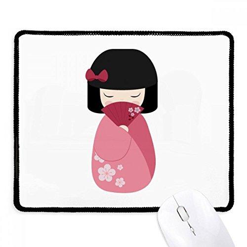 DIYthinker Pink Kimono Fan Sakura Japan anti-slip Mousepad Game Kantoor Zwart Titched Edges Gift