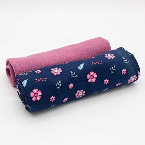 Kleines Stoffpaket - 0,5m Baumwoll-Jersey Stoff + 0,5m Bündchen Nele - zum Nähen von Kinderbekleidung - Kinderstoff - Muster-Mix (Blumen auf dunkelblau + Bündchen Altrosa)