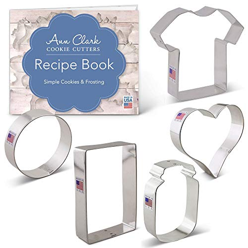 Ann Clark Cookie Cutters 5-Piece Medical and Nurse Cookie Cutter Set with Recipe Booklet, Scrub, Heart, Rectangle, Circle, Pill Bottle