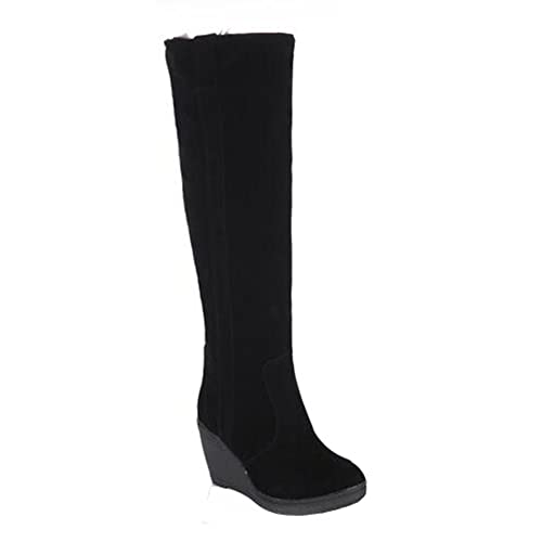 CHFSO Women's Comfy Waterproof Faux Fur Lined Pull On Knee High Heighten Wedge Heel Warm Winter Boots
