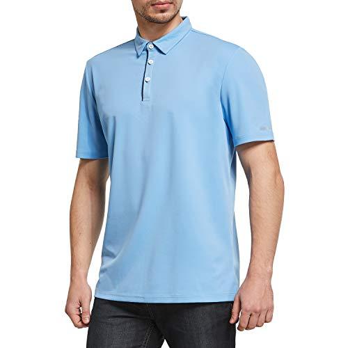 Ogeenier Herren Golf Poloshirt Kurzarm Kontrastkragen Polohemd UV-Schutz T-Shirt UPF 50+