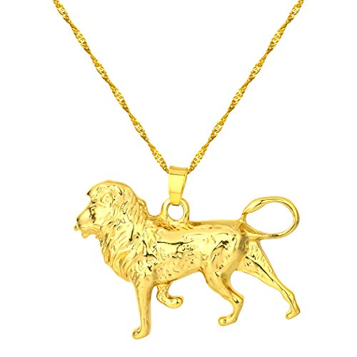Chandler Gold Lion Necklace for Women/Men,Gold/Silver Color Lions Head Pendant Animal Jewelry Africa Lion Ethiopian Best Gifts