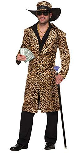 Forum Novelties 78886Funky leopardo Pimp tamaño de la chaqueta y sombrero, en el pecho 42–44-inch