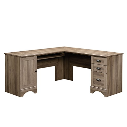 Sauder Harbor View Computer Desk, Salt Oak finish