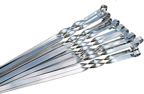 20 Stück Grillspieße Extra Stark aus Edelstahl, Grillzubehör für Mangal Spiess Grill, Schampura Schaschlikspieße (60)