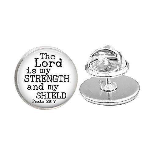 Broche de las Escrituras, pin de cita religiosa, broche de versículo de la Biblia, el Señor es mi fuerza y mi escudo Salmo 28:7, regalo cristiano #1