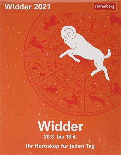 Widder Sternzeichenkalender 2021 - Tagesabreißkalender mit ausführlichem Tageshoroskop und Zitaten - Tischkalender zum Aufstellen oder Aufhängen - Format 11 x 14 cm
