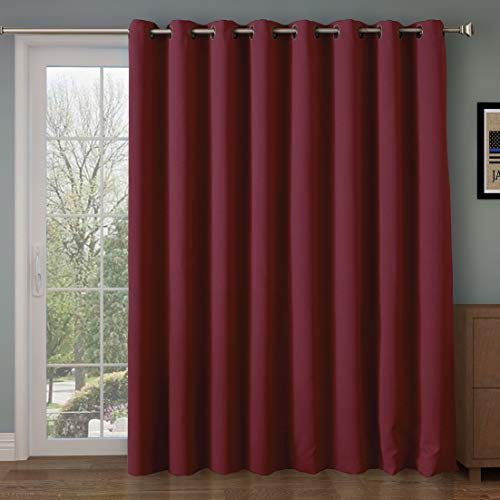 Rose Home Fashion RHF Wide Thermal Blackout Patio Door Curtain Panel, Sliding Door Curtains Antique Bronze Grommet Top 100W by 84L Inches-Burgundy (SYNCHKG084920)