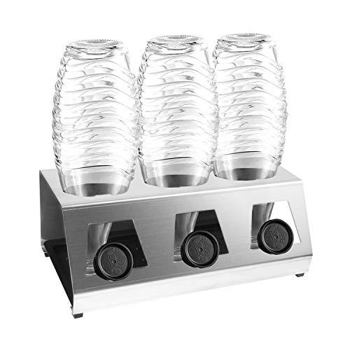 Jayzuum Premium Abtropfhalter aus Edelstahl Abtropfständer mit Abtropfwanne für 3 SodaStream Flaschenhalter | Soda Stream Crystal | Emil Flaschen