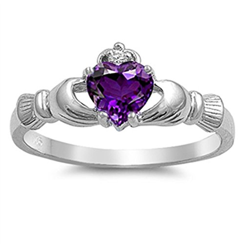 Simulated Amethyst Heart Claddagh Friendship Ring .925 Sterling Silver Band