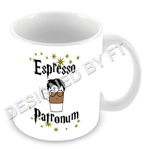 FT - Taza de cerámica blanca, con texto en inglés «Espresso Patronum» de Harry Potter, 311 ml
