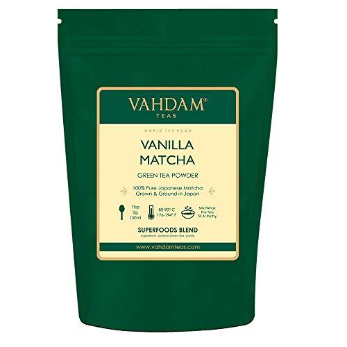 VAHDAM, Vanille Matcha Grüntee Pulver (50 Tassen, 100g)| 100% REINER japanischer Herkunfts-Matcha-Teepulver | 137x ANTI-OXIDANTEN | Gewichtsreduktion und zur täglichen Entgiftung | Japans SUPER FOOD