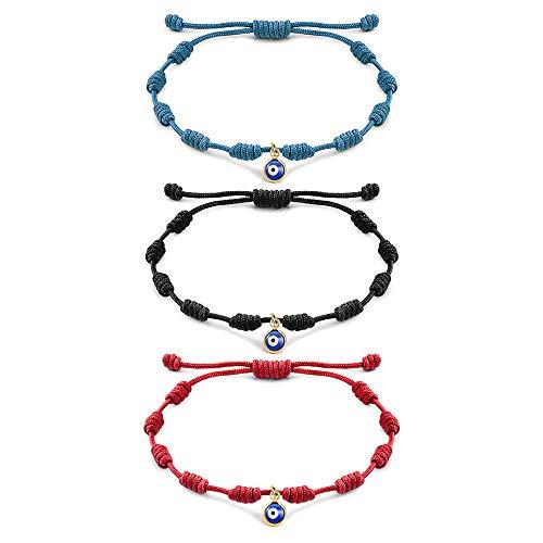 Tarsus Handmade Evil Eyes Bracelet Adjustable Ojo Turco Kabbalah Red String Amulet Nazar 3 Bracelets Set for Family Bestfriend Women Men Girls 3 PCS