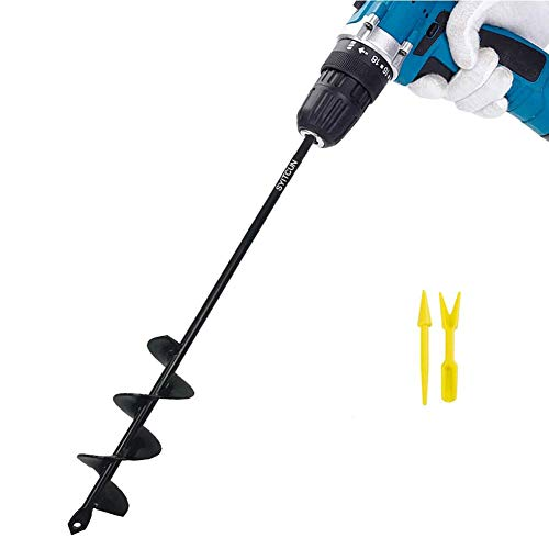 Auger Drill Bit 1.8'x14.6' Garden Plant Flower Bulb Auger Rapid Planter Bulb & Bedding Plant Auger for Most 3/8' Hex Drive Drill Earth Auger Drill Fence Post Umbrella Hole Digger