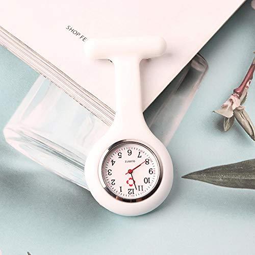 dihui Reloj Enfermera de Flor,Reloj de Enfermera retráctil, Luminoso Reloj de Bolsillo Impermeable-Blanco,Reloj de Enfermera