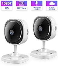 IP Camera,Wandwoo 1080P Wireless Camera with Night Vision,Two-Way Audio,180° Fisheye Panoramic Security Camera Support Motion Dection,Cloud Service,for Home/Baby/Elderly/Pet Monitor,2 Pack,(White)