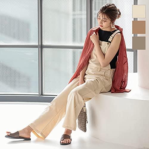 [神戸レタス]オールインワンサロペットリネン混ロングサロペット[E2415]レディースワンサイズ(M)ナチュラルベージュ